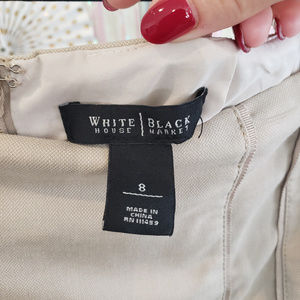 White House Black Market Skirts - Khaki tan cream midi pencil skirt, 8